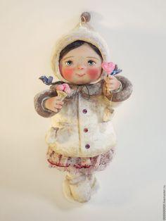 Купить малышка на ёлочку - авторская кукла, ручная авторская работа, новогодний сувенир, новогодний подарок