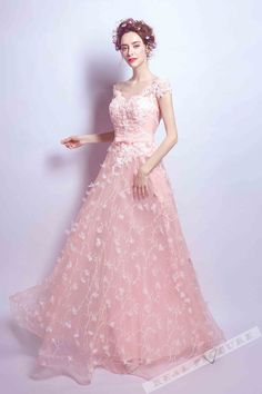 Pink tulle applique floor-length long prom dress with straps