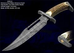 "Hunting Knife13"" Rambo 3, Damascus Bowie, Stag HDL"