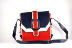 Shoulder bag vintage blue white and red leather crossbody bag, handbag 80's by RetroRetek on Etsy