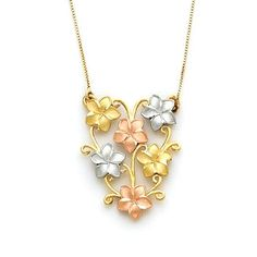 14k solid gold Tri color Plumeria Vine 17 necklace measures approx. 1x3/4. Made to order. Free shipping.