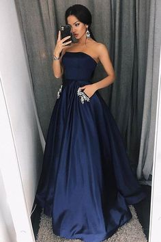 Simple A-Line Strapless Floor-Length Dark Blue Prom Dress with Pockets Beading Prom Dresses Long Prom Dress Dark Blue Prom Dresses Prom Dresses Blue Sleeveless Prom Dresses Prom Dresses 2020 Navy Blue Party Dress, Dark Blue Prom Dresses, Blue Evening Dresses, Navy Party, Evening Gowns, Navy Ball Dresses, Navy Blue Formal Dress, Black Party, Strapless Prom Dresses