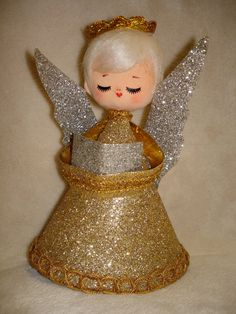 Vintage Gold Silver Christmas Angel Z Vintage Christmas Tree Toppers Angel Christmas Tree Topper
