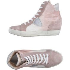 Philippe Model High-tops & Trainers ($225) ❤ liked on Polyvore featuring shoes, sneakers, dove grey, round cap, flat sneakers, hi tops, high top hidden wedge sneakers and high top shoes