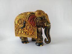 Wooden Elephant Gold Foil Work Used Carved Elephant Big | Etsy Elephant India, Biggest Elephant, Wooden Elephant, Wood Blocks, Gold Foil, Traditional Art, Wood Carving, Antique Gold, Craftsman