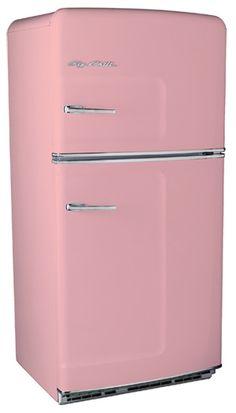 retro pink fridge, basement or garage Vintage Fridge, Vintage Refrigerator, Retro Fridge, Vintage Kitchen, Clean Refrigerator, 1950s Kitchen, Kitchen Ware, Kitchen Items, Color Magenta