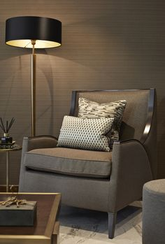 Living space & home interior design - Bailey Interior Design London Interior Design London, Luxury Interior Design, Interior Architecture, Antique Brass Floor Lamp, Upholstered Swivel Chairs, Farmhouse Dining Chairs, Love Your Home, Bespoke Design, Chairs For Sale