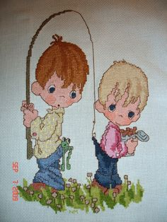FREE SHIPPING - Cross-Stitched Precious Moments Fishing Pals. $37.00, via Etsy.