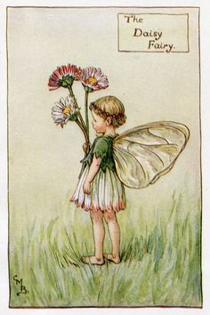 Daisy Flower Fairy Vintage Print, c.1927 Cicely Mary Barker Book Plate Illustration