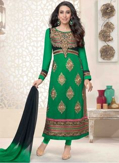 Colour: Green Collection : Karishma Kapoor, KSD106 Top Fabric : Georgette Bottom Fabric : Heavy Santoon Innar Fabric : Heavy Santoon Dupatta Fabric : Nazneen Top Length : 3.5 mtr Inner Length : 4.5 mtr Bottom Length : (4.5 mtr Dupatt Length : 2.25 mtr Work : Embroidered Style : Salwar Suits Season : Any Weight : 1 Kg Occasion : Party, Wedding, Festival Fulfillment Type : Ready To Ship Wash Care : Recommends Dry Wash Only