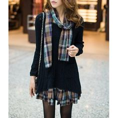 #Twinkledeals - #TwinkleDeals Sweet Scoop Neck Faux Twinset Hollow Out Checked Splicing Long Sleeves Sweater Dress For Women - AdoreWe.com