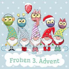 Greeting Christmas card with Five Gnomes and five owls , Cute Christmas Cards, Christmas Topper, Christmas Rock, Christmas Owls, Christmas Clipart, Christmas Printables, Christmas Greetings, Christmas Crafts, Merry Christmas