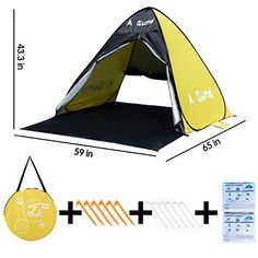 A Sund Outdoor Baby Beach Tent Instant Pop Up Family Beach Umbrella Shade Shelter Canopy Cabana Portable UV Sun Shelters kids for camping – Shop Camping
