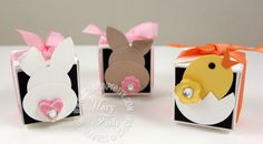 Petal card punch box with Easter punch art