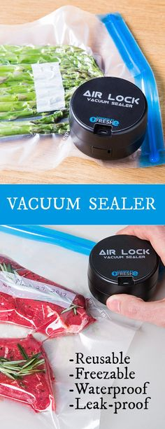 Stop throwing away hundreds of dollars on spoiled food? This handheld vacuum sealer comes with 4 double-gallon bags that are freezable, reusable, and leak-proof. Not to mention Air Lock Vacuum Sealer comes with a USB charging cable for unlimited amount of uses, one charge can seal hundreds of bags.