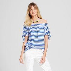 Mr. Smee...................Women's Striped Off the Shoulder with Knot Sleeve - Como Black
