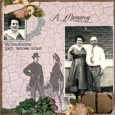 Created with a sweet kit , September Past by Memory Mosaic. This kit is perfect for Heritage and Family layouts. It contains 77 elements and 33 papers. http:///...emory-mosaic-p-25364