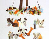 Puppy Dog Nursery Mobile Decor; Baby Shower Gift, Crib Mobile, Cot Mobile, Gender Neutral Nursery Mobile