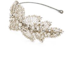 Jenny Packham Acacia Headdress II ($510) ❤ liked on Polyvore featuring accessories, hair accessories, jewelry, hair, headbands, crystal, leaf hair accessories, headband hair accessories, head wrap headbands and crystal hair accessories