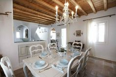 dining room in Mykonos, Greece house White Dining Room Furniture, Dining Rooms, Mykonos Villas, Mykonos Greece, Greece House, Cottage Chic, Accent Decor, Sweet Home, Dining Table