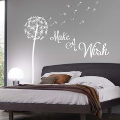 Make A Wish Dandelion Quote Wall Sticker / Floral / Pretty / Wish / Seed Stems in Home, Furniture & DIY, Home Decor, Wall Decals & Stickers Bedroom Wall Art, Bedroom Decor, Wall Decor Bedroom, Wall Decor Stickers, Inspiration Wall, Wall Sticker, Pirate Bedroom Decor, Home Decor, Bedroom Wall