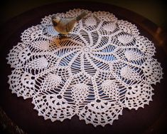 Large Ecru/Natural Crochet Doily--Pinwheels and Pineapples with Beautiful Fan Table Topper Cotton Crochet, Thread Crochet, Hand Crochet, Crochet Motif Patterns, Crochet Diagram, Pineapple Crochet, Pineapple Pattern, Lace Doilies, Crochet Doilies