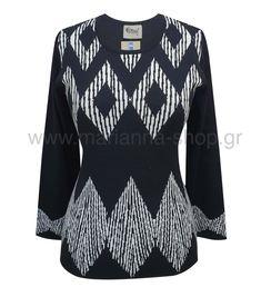 Μπλούζα ζακάρ. Είναι δίχρωμη με μονόχρωμη πλάτη. Έχει λαιμόκοψη και μακρια μανίκια. Μήκοε 64εκ., μήκος μανικιών 56εκ.50%merinos-50%acr.Ελληνική ραφή. #knitwear #jumper #womansblouse #plussize #mariannaclothing #rinasknitwear Bell Sleeves, Bell Sleeve Top, Jumpers, Knitwear, Shopping, Tops, Women, Fashion, Moda