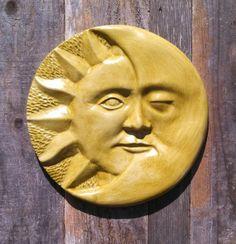 Items similar to Round Sun and Moon Wall Plaque Hanging Tile in Kelp Green on Etsy Sunflower Wall Decor, Soap Carving, Haida Art, Clay Fairies, Sun Moon Stars, Sun Art, Masks Art, Rose Art, Famous Artists