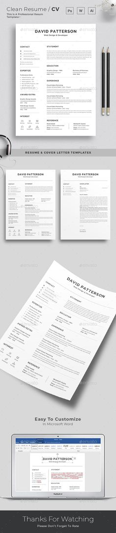 Resume / CV Template Vector EPS, AI, DOCX, DOC Infographic/Visual