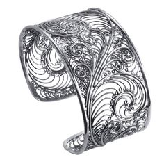 Francesca Fine Jewelry - Parisian Lace Stunning Work Of Art Lacy Filigree Sterling Silver Cuff Bracelet