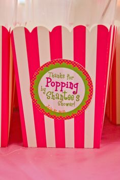 Baby shower favors. Fill with caramel corn