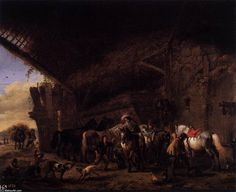 'Coming out of an Inn', Oil On Panel by Philips Wouwerman (1619-1668, Netherlands)