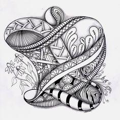 Love Light and Peace: Zen Tangle Zentangle Drawings, Doodles Zentangles, Doodle Drawings, Doodle Art, Henna, Mehndi, Zantangle Art, Relaxing Art, Cool Doodles