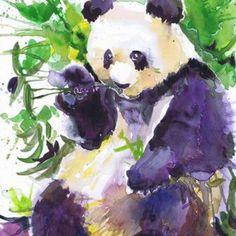 Panda, wildlife, watercolor, wall decor, animal art, art print