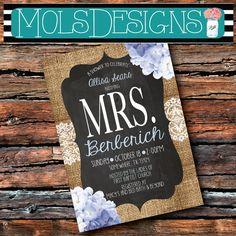 BLUE HYDRANGEAS Chalkboard Burlap Lace Mrs BRIDAL Light Blue Cream Floral Wedding Brunch Tea Party Baby Shower Birthday Surprise Invitation