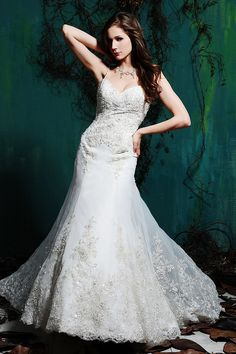 This gown has bling on bling in an elegant and modern silhouette.   Available at Bridal Aisle Pin from DreamWeddingsPA.com