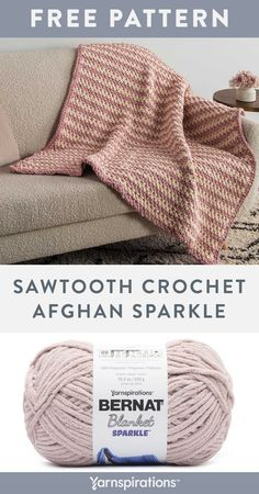 Free Sawtooth Afghan Sparkle crochet pattern using Bernat Blanket Sparkle yarn. Add warmth to a room and color to a plain piece of furniture, or throw it over the bed for an extra layer that really stands out. #Yarnspirations #FreeCrochetPattern #CrochetAfghan #CrochetThrow #CrochetBlanket #MossStitch #SawToothCrochet #BernatYarn #BernatBlanketSparkle Easy Crochet Patterns, Afghan Crochet Patterns, Bernat Yarn, Knitted Hats, Knitting Socks, Moss Stitch, Knit Or Crochet, Crochet Hooks, Sparkle