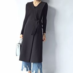 2015 kadın sidepiece kayış yelek ince orta-uzun yelek tarzı giyim 1127 Fashion 2017, Womens Fashion, Sleeveless Jacket, Hijab Outfit, Black Denim, Gothic Fashion, Capsule Wardrobe, Mantel, Dress Up