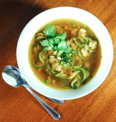 Spicy Thai Chicken and Zucchini Noodle Soup