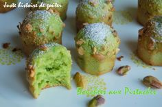 """Pistachio Bites - Just a Taste Story - Small """"express"""" bites for a desire for gluttony, soft and pistachio-scented, they are very nice wit - Snowball Cocktail Recipe, Grilling Recipes, Cooking Recipes, Rumchata Recipes, Vegan Ice Cream, Mini Muffins, Pistachio, Cocktail Recipes, Biscuits"""