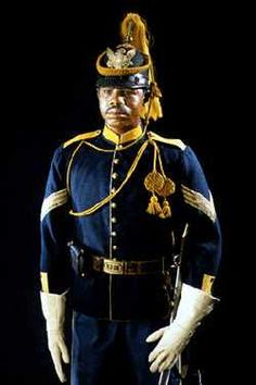 "Spanish American War US Calvary Buffalo Soldier officer.  (Uniform inspiration for ""Samson Washington"" in the historical novel FORTITUDE.)"