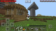 My Minecraft World. Btw I Have Full Iron Armour, I Just Wanted You To See  My Skin. The Large Cobblestone Tower Is My Archer Tower, And The Wood  Building Is ...