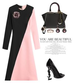"""Two-Tone Dress"" by flippintickledinc ❤ liked on Polyvore featuring Roksanda, Yves Saint Laurent, Fendi, Bulgari, Chanel and twotonedress"