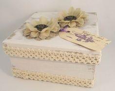 Shabby Chic Box - Decorative Box - Keepsake Box - Burlap Flowers - Wedding Box - Rustic Chic - Vintage Style - Ivory Box - Lace