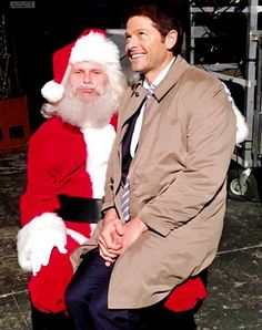 What do you want for christmas?#Castiel #MishaCollins #Lucifer #MarkPellegrino #SantaClaus #Santa #Christmas