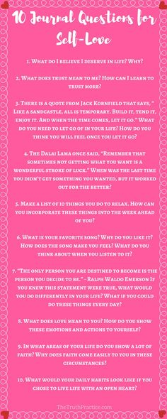 The best place to start practicing self-love is in your mind! You can't figure out what you want if you've never taken the time to ask yourself and then reflect on your answers. Click to read about ALL 20 journaling questions & writing prompts to help you find your authenticity and self-love. Go to http://TheTruthPractice.com to read about inspiration, authenticity, fulfillment, manifesting your dreams, getting rid of fear, living by intuition, self-love, self-care, words of wisdom, and…