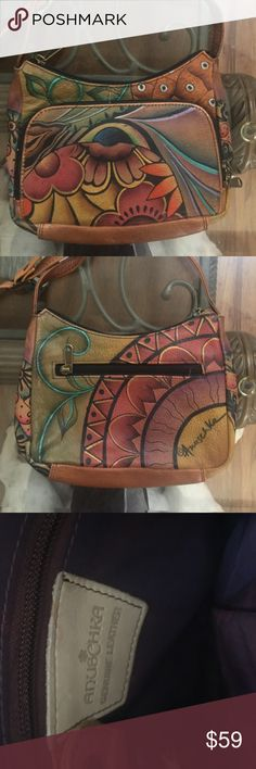 """Anuschka hand painted leather Crossbody bag NEW New without tag.  6""""x8""""x2"""" with adjustable strap. Next day shipping Anuschka Bags Crossbody Bags"""