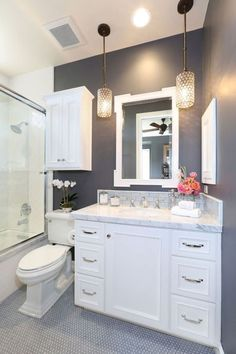 Bathroom renovation ideas / bar - Find and save ideas about bathroom design Ideas on 65 Most Popular Small Bathroom Remodel Ideas on a Budget in 2018 This beautiful look was created with cool colors, marble tile and a change of layout. Beautiful Small Bathrooms, Small Elegant Bathroom, Glamorous Bathroom, Upstairs Bathrooms, Gray Bathrooms, Gold Bathroom, Vanity Bathroom, Modern Bathroom, Bathroom Bin