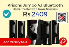 Shopclues is offering 60% off on Krisons Jumbo 4.1 Bluetooth Home Theater with Tower Speakers at Rs.2409 Only. The Great HI-FI System with 6 inch Woofer and equipped with power of Bluetooth. model comes with remote and has 1 Woofer and Four Tower speakers. Main feature: Bluetooth Connectivity, FM, USB and AUX In, Hi-Fi System at Great Price, Tower type speaker, 6 inch Woofer…
