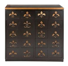20 Drawer Storage Cabinet in Brown Lacquer and Fleur De Lis Imprints